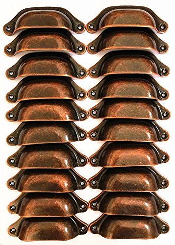20PCS Antique Red Copper Metal Drawer Knobs Pulls Handles - Vintage Kitchen Cabinets Furniture Wardrobe Medicine Pull Handle (Red -