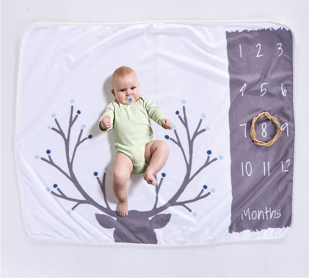 Zippersell Baby Monthly Milestone Age Blanket,Baby Shower Gift Idea,Polar Fleece Newborn Photography Background Photo Prop for 0-12 Months Growing Infants & Toddler (Antler)