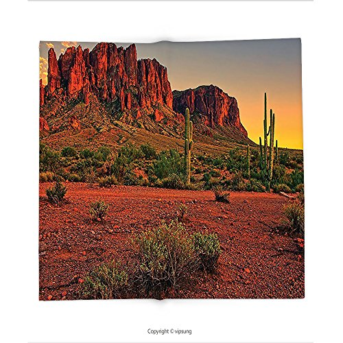 Custom printed Throw Blanket with Saguaro Cactus Decor Collection Colorful Sunset View of the Desert and Mountains near Phoenix Arizona USA Image Brown Green Super soft and Cozy Fleece Blanket
