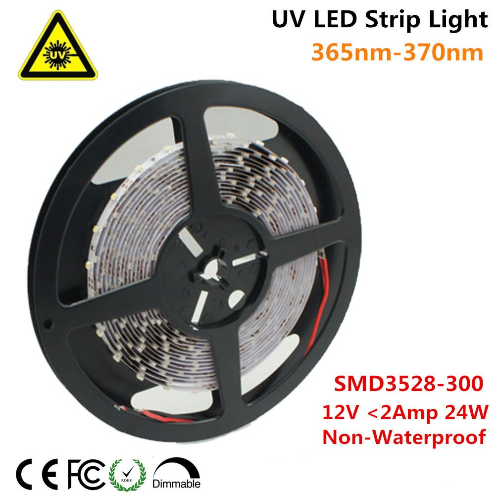 Ultraviolet LED Strip, LightingWill 365nm-370nm 16.4FT 24W 5M 12V SMD3528 300LEDs UV Ultraviolet Non-waterproof 8mm White PCB Flexible LED Strips 60LEDs 4.8W Per Meter, for UV Curing, Metal Crack by LightingWill