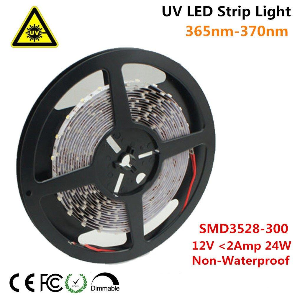 Ultraviolet LED Strip, LightingWill 365nm-370nm 16.4FT 24W 5M 12V SMD3528 300LEDs UV Ultraviolet Non-waterproof 8mm White PCB Flexible LED Strips 60LEDs 4.8W Per Meter, for UV Curing, Metal Crack
