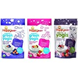 Happy Baby Organic Yogis Freeze-Dried Yogurt & Fruit Snacks 3 Flavor Sampler Bundle: (1) Blueberry Purple Carrot Greek Yogis, (1) Strawberry Banana Greek Yogis, and (1) Mixed Berry Yogis, 1 Oz. Ea.