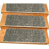 """Ottomanson Comfort Collection Soft Solid (Non-Slip) Plush Carpet Stair Treads, 14 Pack, 9"""" x 26', Grey"""