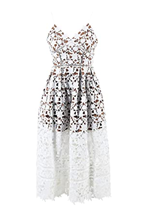 f0e4adc5fe3569 Image Unavailable. Image not available for. Color: Self Portrait Women's  White & Beige Guipure Lace Pleated Azaelea Dress ...