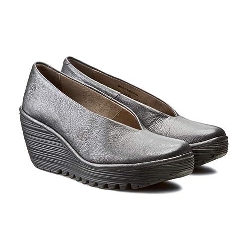 87390742ba9e Fly London P500025 YAZ Silver Womens Wedge Shoes  Amazon.co.uk  Shoes   Bags