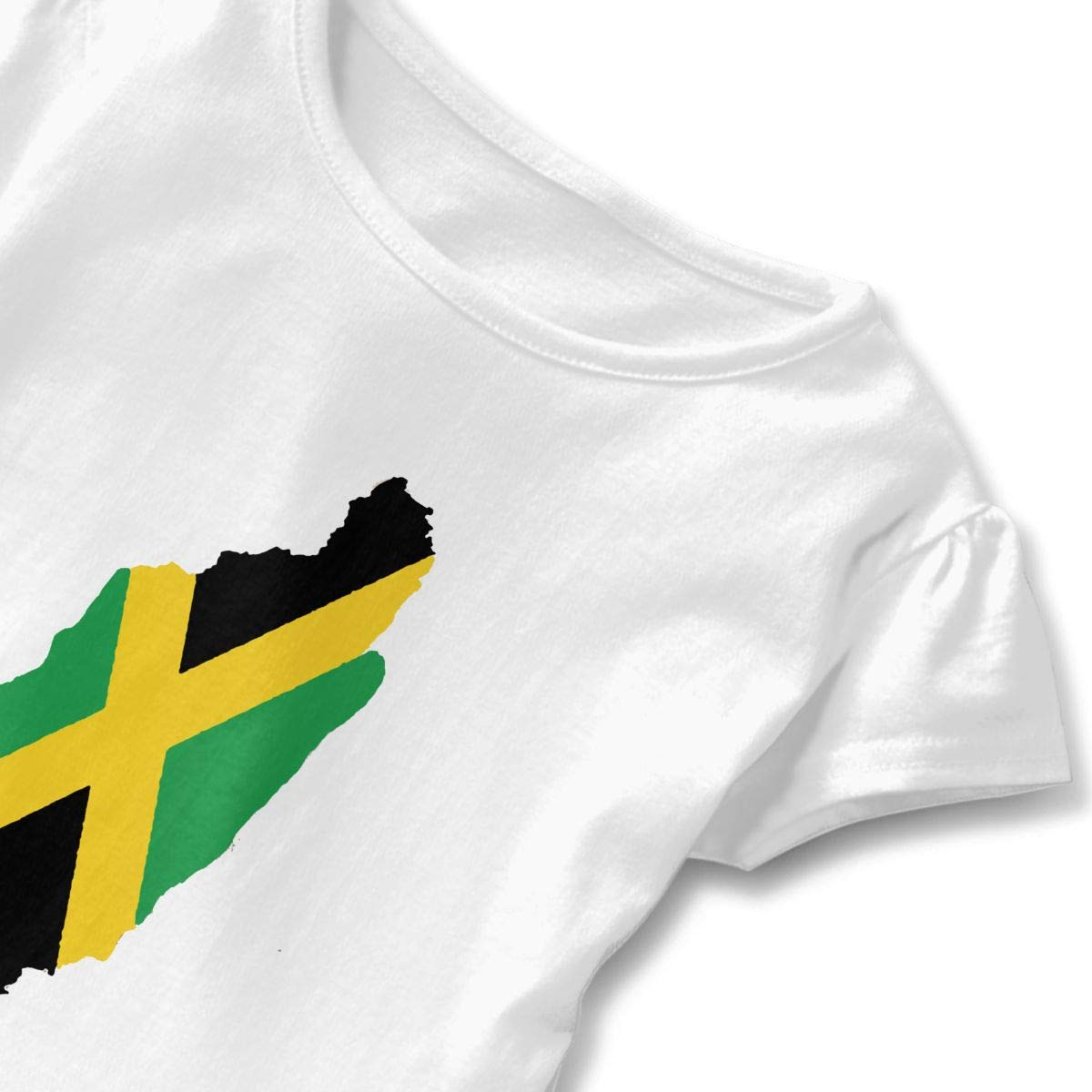 Jamaican Flag Toddler Girls Round Neck Ruffle Short Sleeves Top Tunic for Home School As Gift for Children White