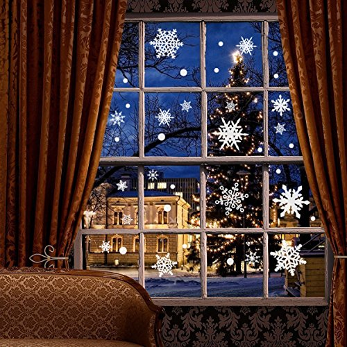 Moon Boat 207 PCS Christmas Snowflake Window Clings Decal Wall Stickers - Xmas/Holiday/Winter Wonderland White Decorations Ornaments Party Supplies(6 Sheets)]()