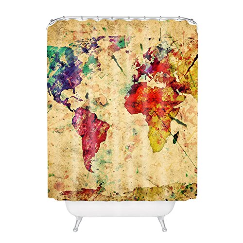 World Map Antique Style Polyester Fabric Bathroom Shower Curtain 60*72Inch (Clearance Curtains Shower)