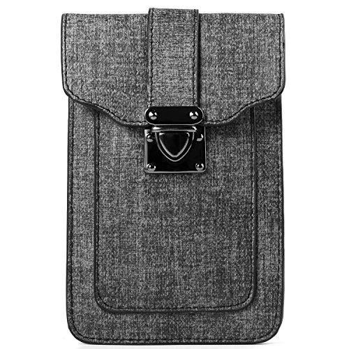 Women's Mini Shoulder Bag Belt Clip Pouch for Apple iPhone X / 8 7 Plus / ZTE Nubia Z17 / Z17 Mini / Blade X Max / Max 3 / A2 Plus / V8 / V8 Pro / Max XL / Axon 7S / Hawkeye/ OnePlus 5 3T (Dark Grey) ()