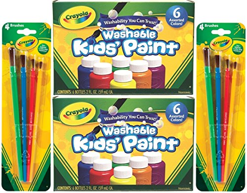 Crayola Washable Kids Paint, 6 Assorted Colors, 2 Oz Each (Pack of 2) Total 12 Bottles + Bonus 8 Crayola Paint Brushes