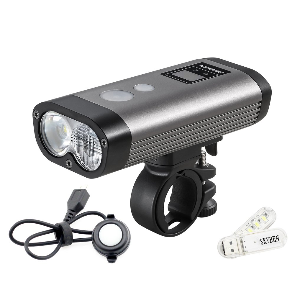 Ravemen PR1200 USB Rechargeable Bike Light Max 1200 Lumens 3 Modes and 8 Brightness Levels For Road Mountain Biking Automotive LED Remote Headlight with SKYBEN USB Light