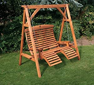 Wooden luxury comfort garden swing seat beech finish garden outdoors Wooden swing seats garden furniture