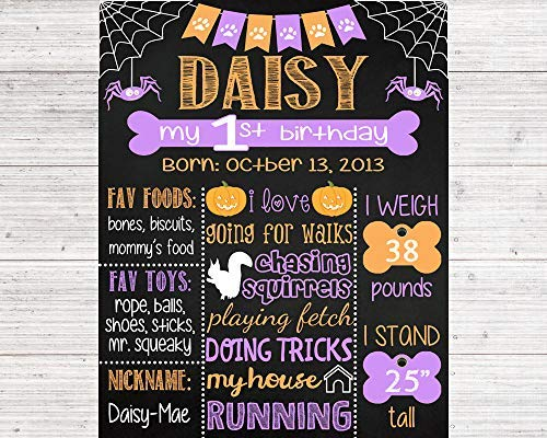 Funlaugh Printable Halloween Themed Dog First Birthday Chalkboard Sign Any Age Birthday Poster Digital File Only Wood Signs for Home Decor Quote Garden Plaque Sign