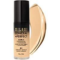 Milani Conceal Perfect 2 in 1 Foundation Concealer, Creamy Vanilla, 30ml