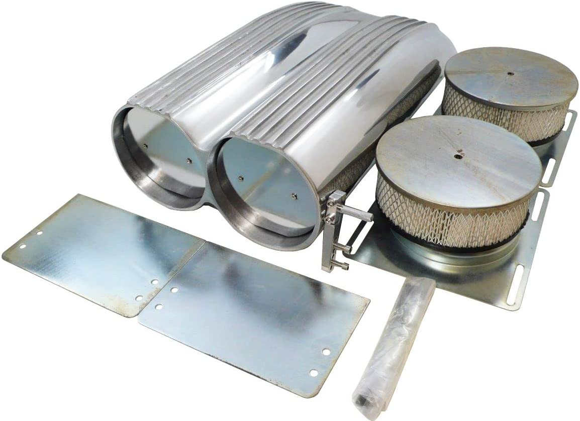 Retro Finned Styled Hood Scoop Air Cleaner Assembly w// Filter Kit Rat /& Hot Rod