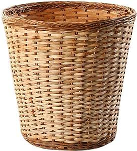 GWW Rattan Round Trash can,Wicker Laundry Basket Without lid Creative Storage Basket Household Waste Paper Basket-C 22x22cm(9x9inch)