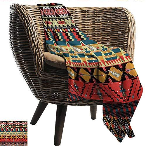 (EwaskyOnline Native American Baby Blanket Classic Traditional Aztec Pattern Image Bird Flower Arrow Natural Ethnic car/Airplane Travel Throw (Travel Size) 40