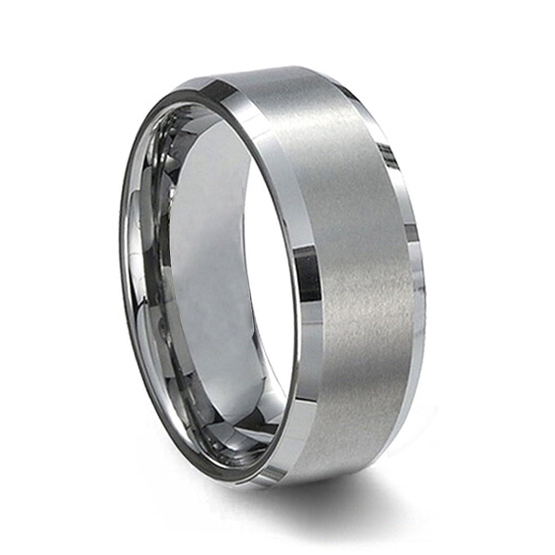 SJ Fashion Mens Tungsten 8mm Polished Beveled Edge Matte Brushed Finish Center Ring