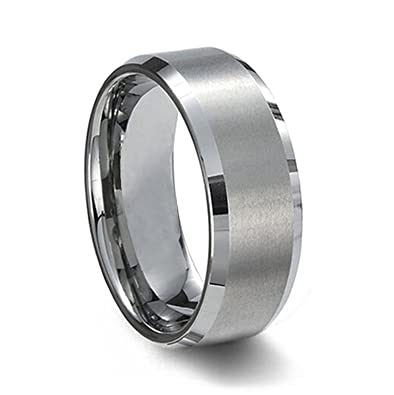 Sj Fashion Unisex 8mm Tungsten Carbide Matte Polished Finish Wedding Engagement Bands azX1AKdcR