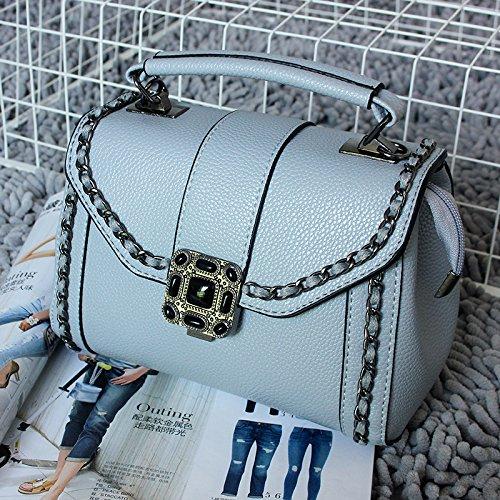 donna e Borsa riso piccola bianco qiumei con borsa blu grigio Ome da f0n7wxf8
