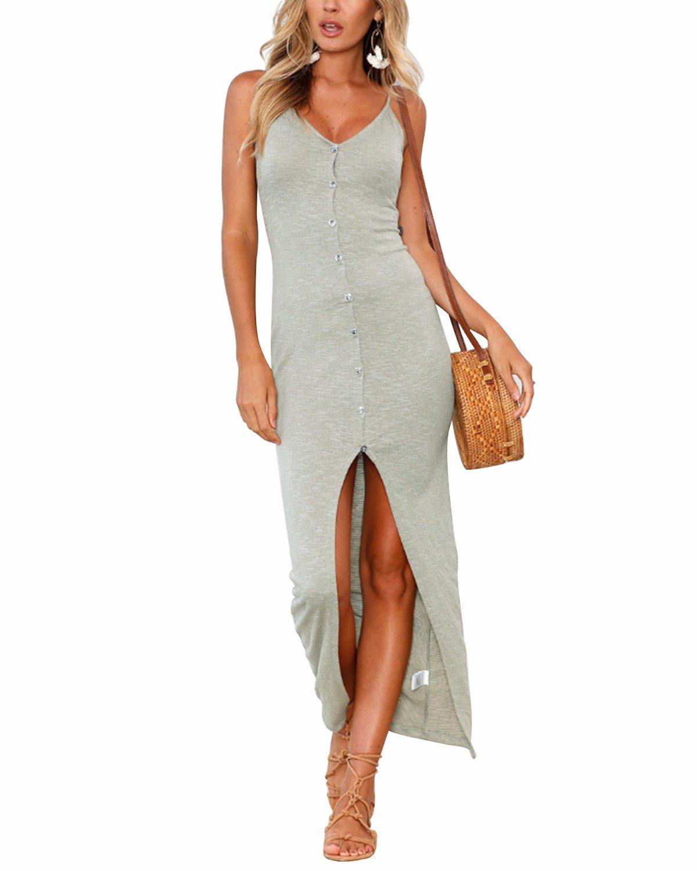 MODARESS Women's Summer Bohemian Dresses, Spaghetti Strap Button Down Swing Midi Dress Grey S