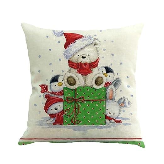 SMILEQ Fundas de Almohada Decorativas cuadradas de Navidad ...