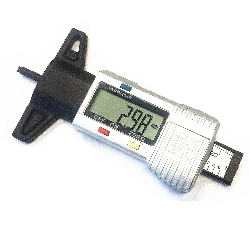 Qiorange Digital LCD Tyre Depth Gauge Tread Checker Measurer For Car Motorcycle 0-25.4mm (Silver)