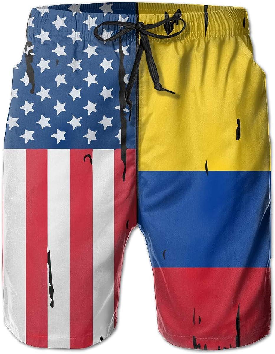 Mbefore Traje de baño Informal para Hombre con Bandera Estadounidense de Colombia, XL: Amazon.es: Ropa y accesorios