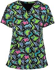 Msaikric Scrub Tops Women Prints V-Neck Christmas Pattern Medical Uniform Short Sleeve Nursing T-Shirts Tunic with Pocket