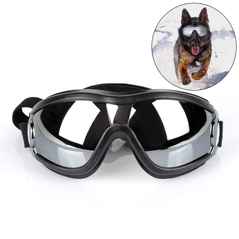 CWMJH Pet Sunglasses Anti-UV Safety Glasses Waterproof Windproof Sunglasses Adjustable Shoulder Strap Suitable for Large Medium-Sized Dog Swimming Glasses