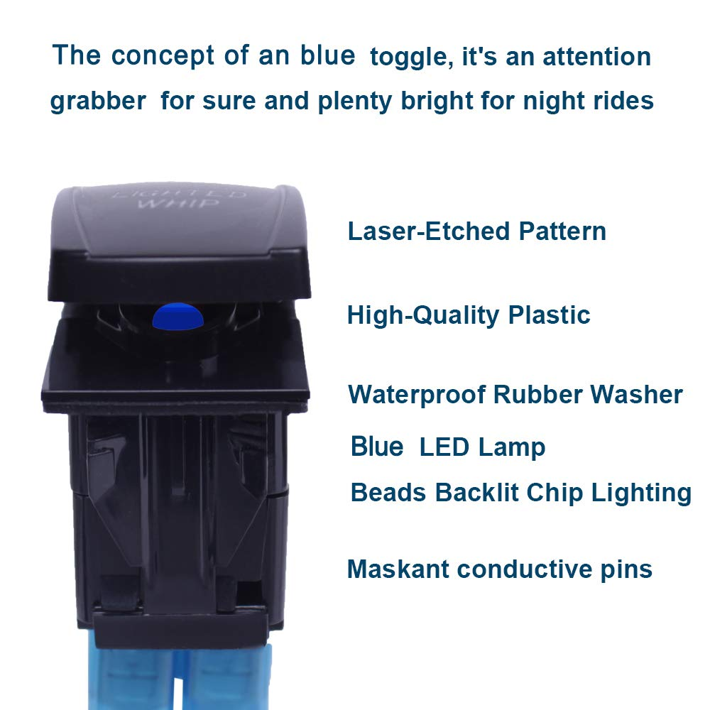 Xislet 5-Pin ROCK LIGHTS Rocker Switch Toggle Button for UTV ATV Polaris RS1 Ranger RZR Can-Am X3 Spyder F150 Truck Jeep Rocker Switch Blue LED Light with Instruction and Jumper Wire