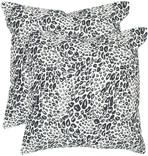 Satin Leopard Blue (Safavieh Pillow Collection Throw Pillows, 20 by 20-Inch, Satin Leopard Midnight, Set of 2)