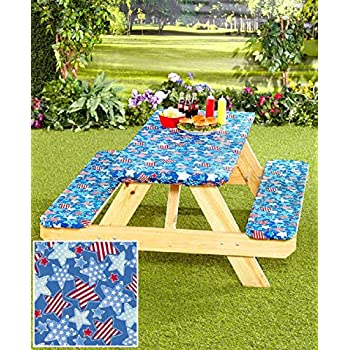 Amazon Com 3 Pc Picnic Table Covers Americana Stars