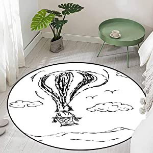 Round Office Chair Floor Mat Foot Pad Hot Air Balloon Sketch in The Clouds Murky Air Journey Artistic Picture Diameter 66 inch Kitchen Rugs Non Skid