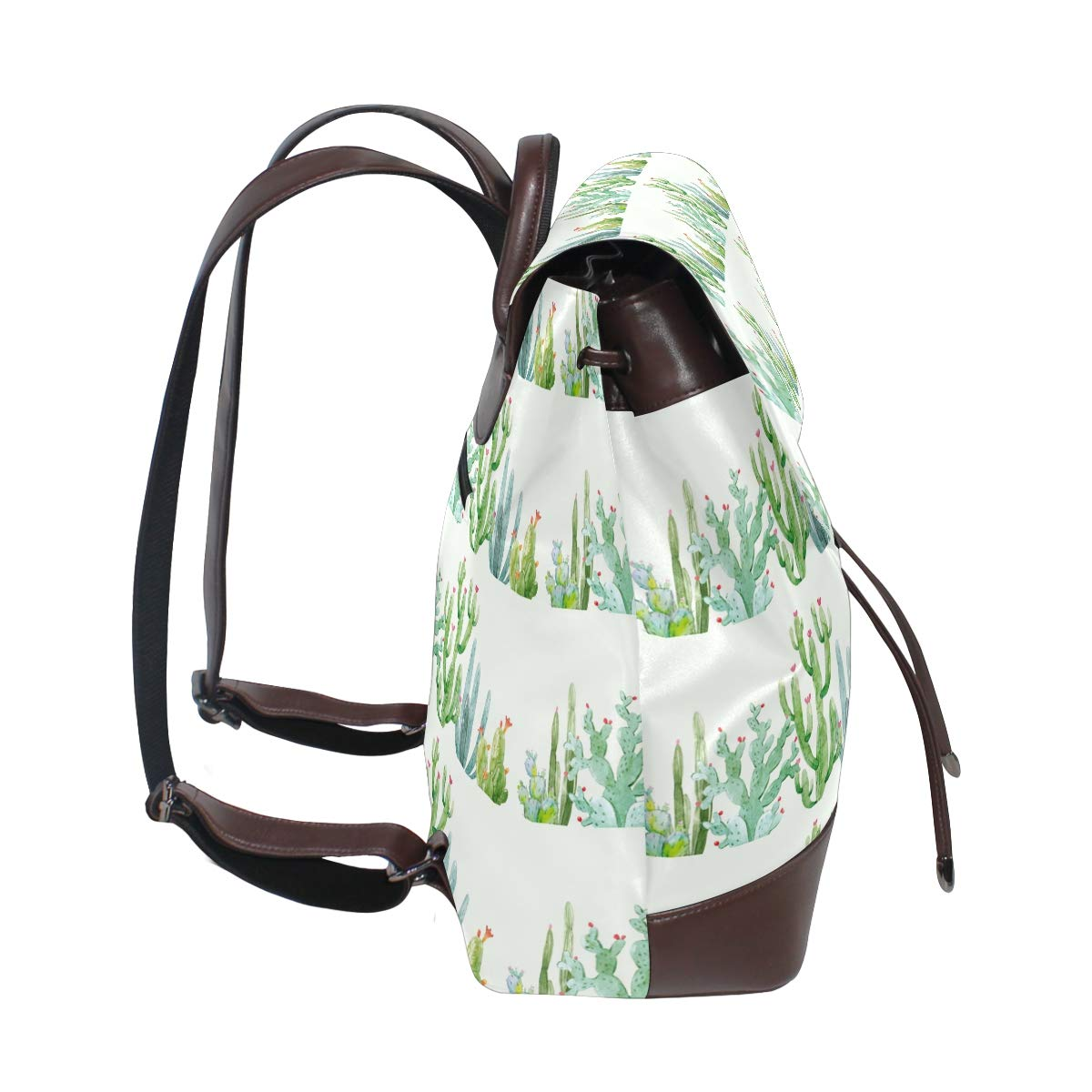 Leather Watercolor Cactus Composition Backpack Daypack Bag Women