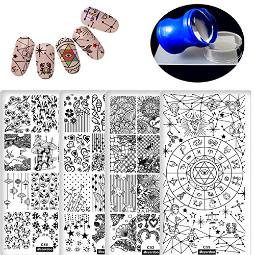 (4pcs Rectangle Nail Stamping Plates Icecream Love Star Flower Pattern Nail Art Stamp Template Peking Opera Constellation Series Image Plate +1pcs 3.8cm Stamper Scraper Sets)