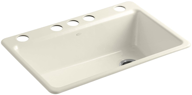 KOHLER K-5871-5UA3-47 Riverby Single Bowl Undermount Kitchen Sink, Almond