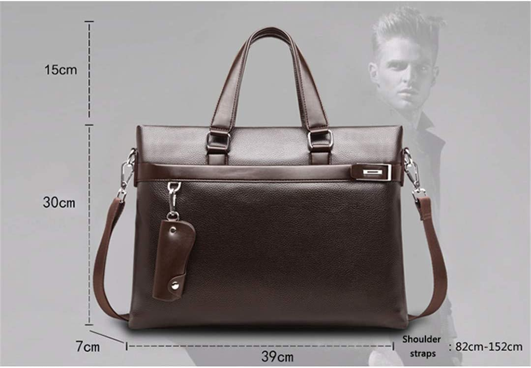 Men Briefcase PU Leather Men Bags Business Male Briefcases Handbags Brown with wallet