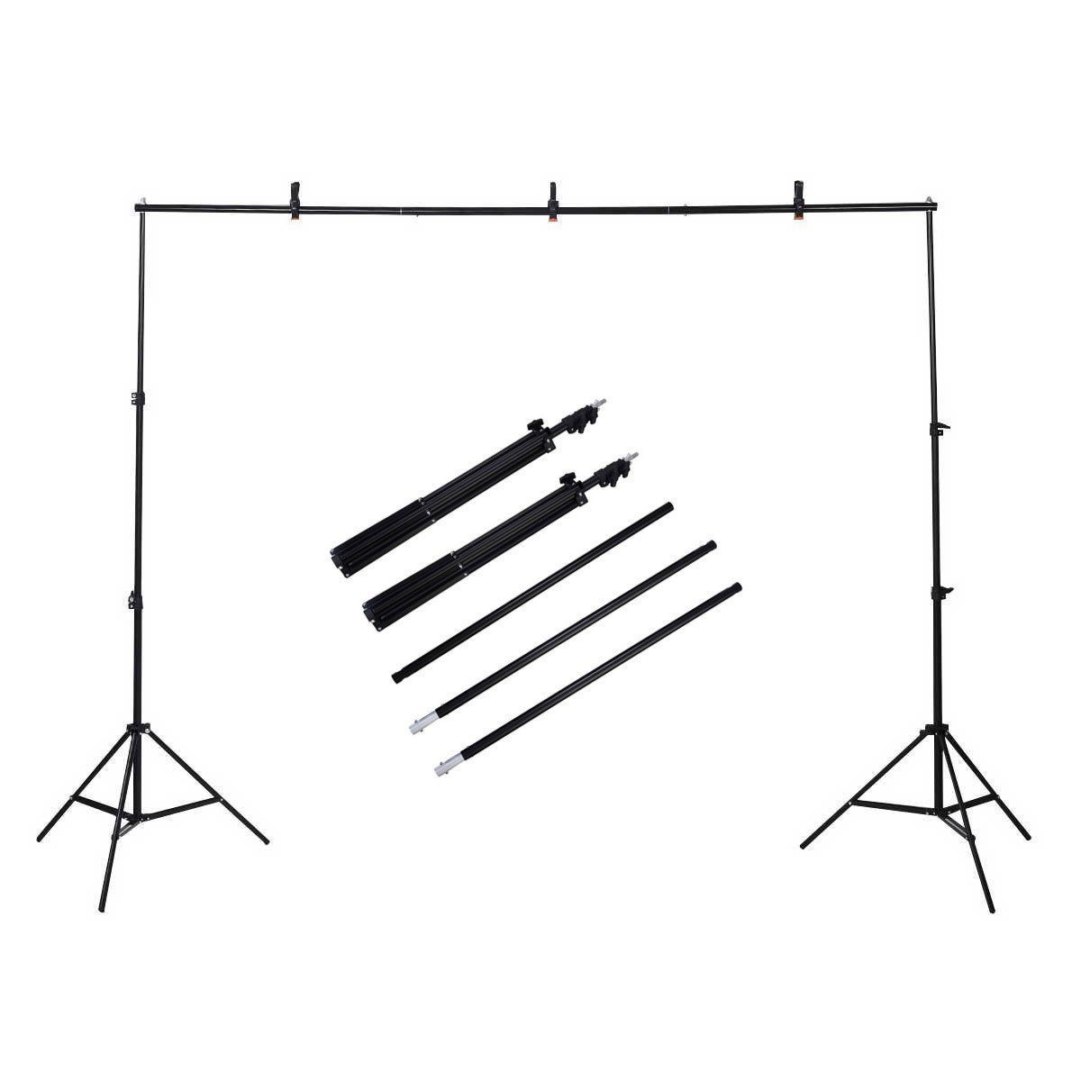 Safstar Background Stand Backdrop Support System Kit, 10 x 6.5ft(3 x 2M) with Portable Carrying Bag and Clamps for Video, Portrait, and Product Photography by S AFSTAR
