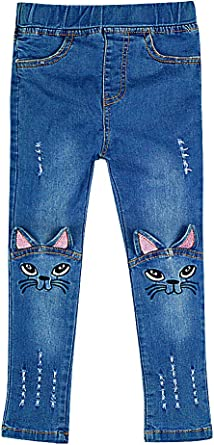 Girls Trendy Soft Cat Face Ears Appliques Tears Denim Skinny Jeans Sweety