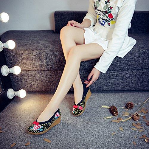 Studio Brodé Ballerines Noir Espadrilles Femme Chaussures Fleuries Sk Bateau Compensées Traditionnelles dtXqW