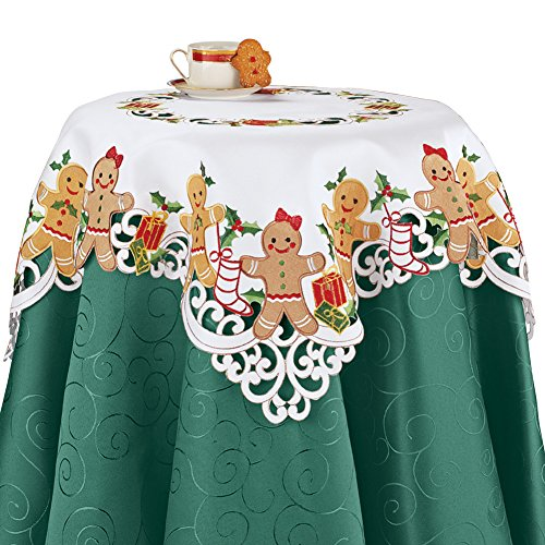 Embroidered Christmas Gingerbread and Gifts Table Linens, Square