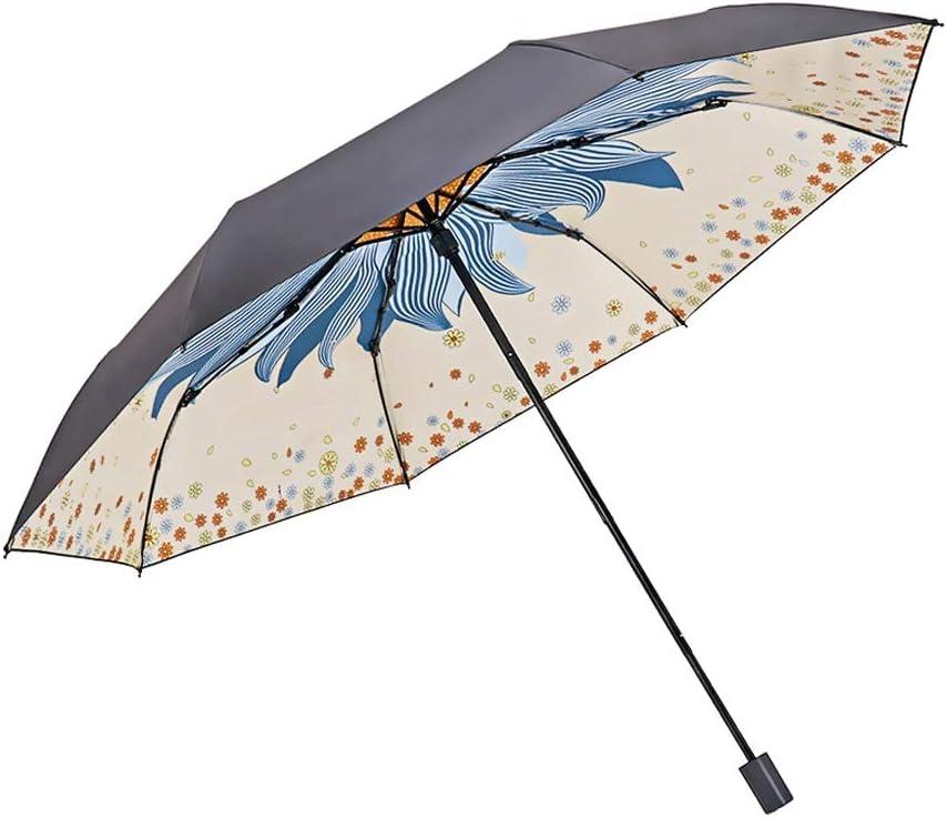 Yangdengwei Parasol Waterproof Blue Three-Layer Folding Anti-UV Sun Umbrella Ultra Light Rain Dual-use Mini Umbrella Sunscreen Zero Light Folding Umbrella Color : Beige
