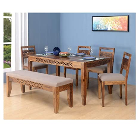 Style Wells Traditional Handcrafted Six Seater Dining Table Set In Natural Walnut Finish Amazonin Electronics