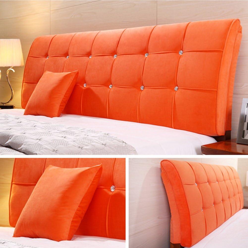 8 tailles au choix Couleur : Orange, taille : With headboard-120cm coussin de t/ête de lit coussin coussin couvre-lit arri/ère canap/é chambre salon sac souple avec t/ête de lit 5 couleurs