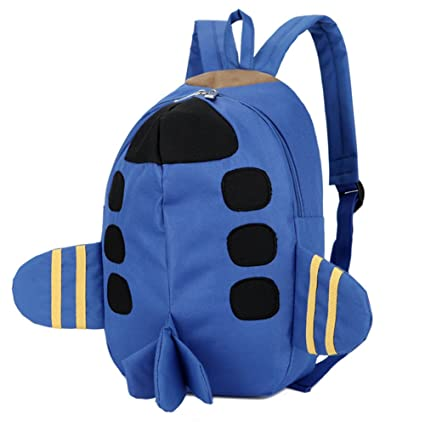 Bom Bom Mochila Escolar Infantil 4D Avion para Ninos Niñas Guarderia(azul)