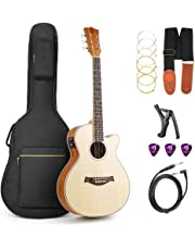 Acoustic Guitar, Cutaway Acoustic Guitar Electric 36 Inch 3/4 Acoustic Guitars Beginner Kit with Guitar Extra Strings Strap Capo Picks Cable Gig Bag, by Vangoa