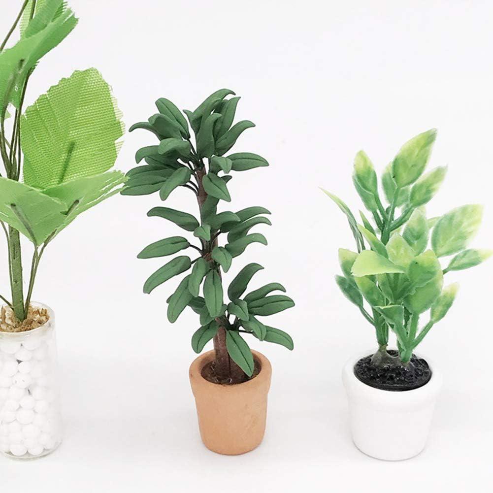 1//12 Realistic Leafed Plant Pot Pottery Miniature Doll House Garden Decoration JujubeZAO Doll House Plant Pot