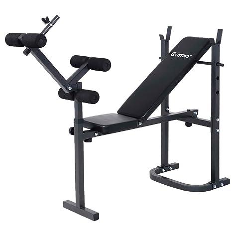 Plegable Ajustable banco de entrenamiento con pesas gimnasio Fitness ejercicio barra de mancuernas (inclinación ABS