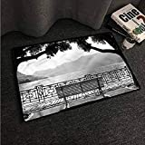 Kitchen Room Floor Mat Rug Colorful Grey,Romantic Scenery with a Bench,W30 xL39 Outdoor Camping Rugs